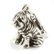 Sharpei Dog Sterling Silver Clip On Charm - With Clasp